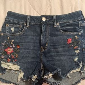 American Eagle Floral Jean Shorts